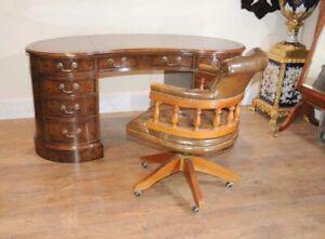 Walnut Victorian Kidney Desk Writing Table