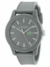 NWT LACOSTE GREY DIAL GREY SILICONE STRAP UNISEX WATCH 2010767 MSRP $125