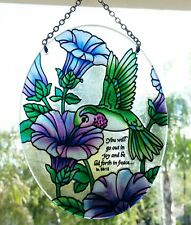 joan baker hand painted stained 5.25x7 Petuna & hummingbird suncatcher