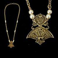 Vintage Art Deco Egyptian Revival Pearl Necklace Unique!!