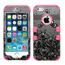 Apple iPhone 5 IMPACT TUFF HYBRID Case Skin Phone Cover Black Lace Flowers Pink