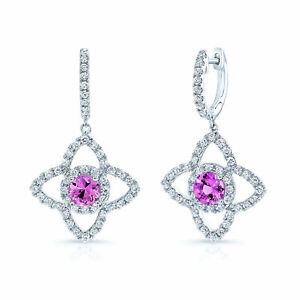 Pink Sapphire Diamond Drop Earrings 14K White Gold Round Cut Natural Clover