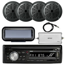 "Bluetooth Marine Radio MP3/USB CD + Cover, Amp, Antenna, 4x 5.25"" Speakers"