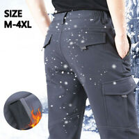 Men Winter Fleece-Lined Waterproof Outdoor Ski Pants Windproof Fashion Trousers