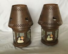 Candle Lanterns Snowman Family Rustic Desktop Ornaments for Holliday's Set Of 2