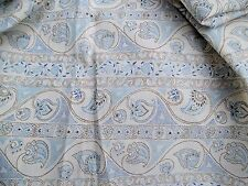 "27.5"" along selvage 27.5"" wide cream/blue/white paisley print vintage.-look"