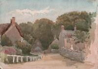 LAURENCE GEORGE BOMFORD Painting c1895 IMPRESSIONIST VILLAGE LANDSCAPE