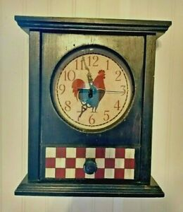Country Rooster Quartz Clock Battery Operated Wood Frame w/ Faux Drawer