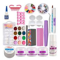 US~Pro Full Acrylic Powder Liquid NAIL ART KIT Block Glitter Brush Glue Tips Set