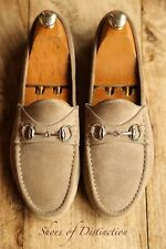 Gucci Grey Suede Bit Loafers Driving Shoes Men's Uk 7.5 Us 8.5