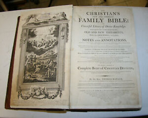 """1790 HUGE antique Holy Bible 15 3/4"""" tall  **Previous restoration** Very nice"""