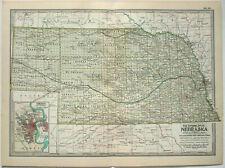 Original 1902 Map of Nebraska by The Century Company. Antique
