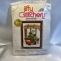 Vintage Jiffy Stitchery Sunny Cat Nap Crewel Embroidery 5x7 Kit 70s Era NEW