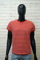 LEE Uomo Maglia Taglia M Maglietta Manica Corta Polo Shirt Rosso Righe Jersey