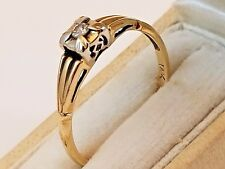 Vintage Retro 14K Yellow Gold and Diamond Solitaire Engagement Fashion Ring