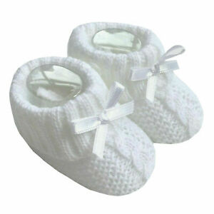 Baby Boy Girls 1 Pair Knitted Booties Newborn Knitted Bootees with Bow White