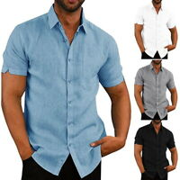 Luxury Men Short Sleeve Casual Loose Cotton T-shirt Dress Shirt Blouse Tops Tee