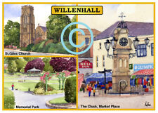 "WILLENHALL 3 SCENES WEST MIDLANDSS WATERCOLOUR ARTIST'S PRINT ART CARD 8""x 6"""