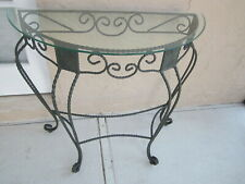 Vintage Wrought Iron Glass Top Foyer or Sofa Table   Shipping not Included