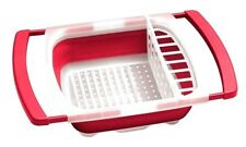 RED Collapsible Over The Sink DISH DRAINER Folding Rack Storage Colander Rack !