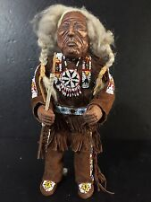 Old Antique Plains Indian Sioux Native American Breaded Doll Carved wood face