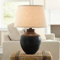 Rustic Table Lamp Hammered Bronze Metal Pot for Living Room Bedroom Bedside
