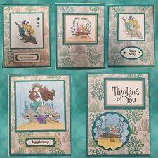 Lot of 5 Stampin' Up Mermaid Handmade Cards Happy Birthday Thinking Of You