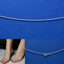 Solid Sterling Silver Anklet Bracelet Tiny Twisted Sepentine Chain .925