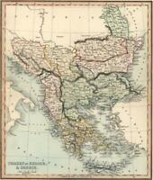 Ottoman Empire Balkans Greece Thrace Romania Bulgaria Albania c. 1850 Tegg map