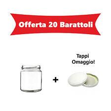 OFFERTA 20 Barattoli vasi in vetro per marmellate omogeneizzati conserva 370 ml