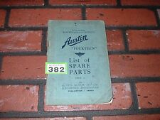 GENUINE AUSTIN FOURTEEN 14 ILLUSTRATED SPARE PARTS BOOK.1937