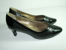 32f2339a2236 WOMENS BLACK PATENT LEATHER SOFT STYLE PUMPS COMFORT HEELS SHOES SIZE 6.5 M
