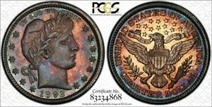 1892 Proof Barber Quarter Dollar PCGS PR62 Colorful Rainbow Toning - CRAZY TONE