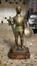 VINTAGE Copper Knight Statue sword & Shield 1734 RARE