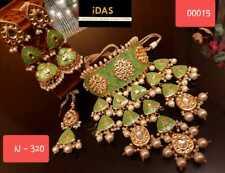 Indian Traditional Gold Plated Kundan Choker Necklace Earrings Tikka Jewelry Set