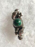 1980s Silver Malachite Brooch Art Nouveau Style 925 Jewellery Jewelry Vintage