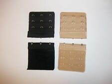 4 Bra Extenders. 3 Hook style. 2 Nude/Beige and 2 BLACK.  Shape Changer Brand
