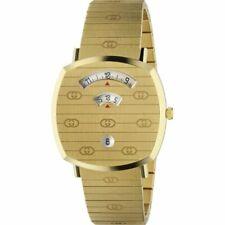 New Gucci Grip Gold-Tone Stainless Steel Bracelet 38mm Unisex Watch YA157409