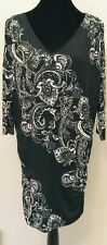 White House Black Market Womens Sheath Dress Medium Black Paisley Drop Waist