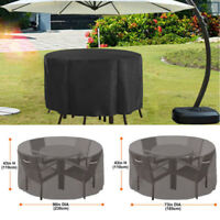 210D Round Furniture Cover Outdoor Yard Patio Table Protection Waterproof Black