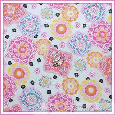 BonEful Fabric FQ Cotton Quilt White Pink Aqua Blue S Lace Flower Pastel Paisley
