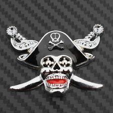 3D Metal Pirate Skull Sword Badge Decal Car Truck Bumper Fender Sticker Chrome