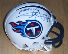 Chris Sanders & Joe Bowden (Signed) Football Mini Helmet NFL Titans