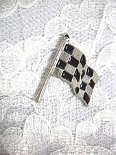 NEW USA PEWTER RACING FINISH LINE CHECKERED FLAG RACE PENDANT ADJ RACE NECKLACE