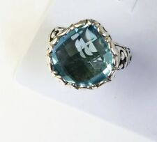Sterling Silver Pear Shaped Cushion Cut Blue Topaz Filigree Size 6&7/8 Ring.