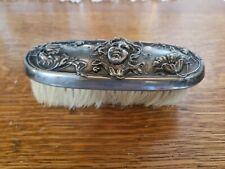 Victorian Antique Vanity Brush Victor Silver Co Art Nouveau Lady Flowers