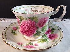 Royal Albert November Chrysanthemum Footed Cup Saucer Fine Bone China England