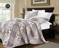 Luxury Orchid Patchwork Quilted Bedspread Comforter Super King Size 170 x 230 cm