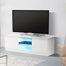 Modern White TV Stand Unit Cabinet with 2 Shelves 2 Drawers Free LED
