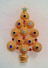 Potted Light Colored Crystal Christmas Tree Gold Finish Pin - Bohemia